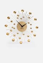 Present Time - Sunburst wall clock - crystal gold medium