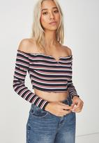 Cotton On - Lani v notch cropped top - multi