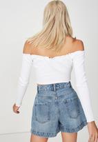 Cotton On - Lani v notch cropped top - white