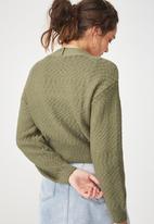 Cotton On - Cropped button up cardigan - khaki
