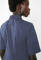 AMANDA LAIRD CHERRY - Zandile curved seam spot tunic - navy