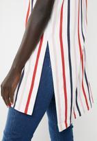 AMANDA LAIRD CHERRY - Thozoma stripey tunic with side splits - white