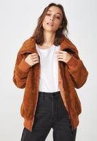Cotton On - Teddy bomber jacket - rust