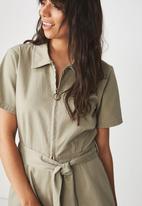 Cotton On - Woven Maria zip through playsuit - khaki