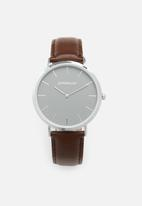 Superbalist - Lucas leather watch - brown & silver