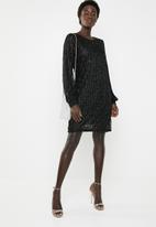 Vero Moda - Shane long sleeve short dress - black