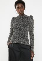 Vero Moda - Desiree long sleeve top - black & gold