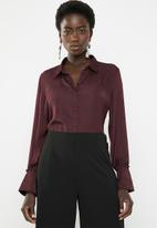 Vero Moda - Sandra long sleeve shirt - burgundy