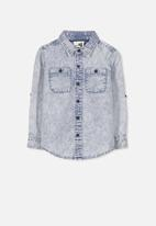 Cotton On - Noah long sleeve shirt - blue