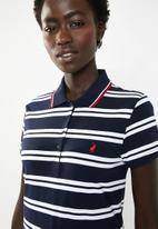 POLO - Anna striped golfer - navy & white