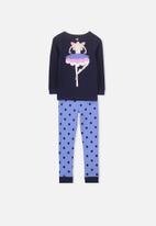 Cotton On - Shae girls long sleeve waffle pyjama set - blue & navy