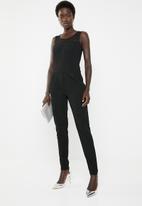 ONLY - Boom sleeveless mesh jumpsuit - black