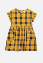 Cotton On - Malia short sleeve dress - yellow