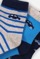 MINOTI - 3 pack ankle socks - blue & grey