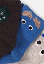 MINOTI - 3 pack ankle socks - grey & blue