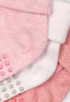 MINOTI - 3 pack turned down ankle socks - pink & white