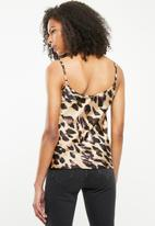 Missguided - Crepe and lace cami animal print blouse - brown & black