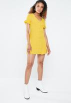 Forever21 - Frill sleeve tea dress - yellow