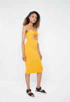 Forever21 - Bodycon dress with cutout - yellow