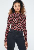 Forever21 - Floral knit bodysuit - black & red