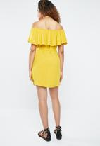 Forever21 - Off shoulder ruffle dress with tie - yellow