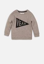 MINOTI - Yeah flock print sweatshirt - grey