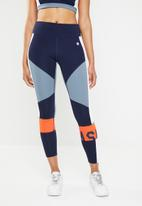 Asics - Colour block tights - navy, orange & white