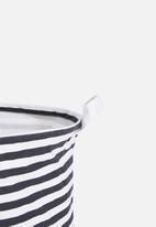Sixth Floor - Striped laundry basket - black/white