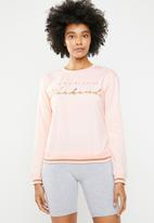 New Look - Pve slogan sweat - pink