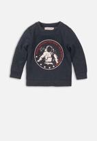 MINOTI - Space chest print sweatshirt - navy