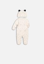 MINOTI - Animal 2 piece sleep-suit & beanie set - cream