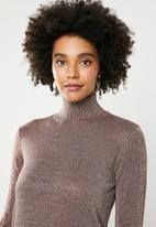 Noisy May - Alex long sleeves high neck jersey - bronze
