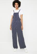 Noisy May - Alana 7/8 wide leg dungaree - navy