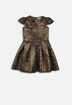 MINOTI - Jaquard dress - gold & black
