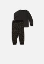 MINOTI - I'm not tired long sleeve pyjama set - charcoal & black