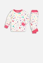 MINOTI - Long sleeve pyjama set - pink & white