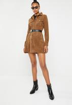 Missguided - Corduroy skater shirt dress - rust