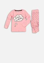 MINOTI - Go away long sleeve  pyjama set - pink