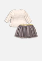 MINOTI - Infants long sleeve top & tutu set - cream & grey