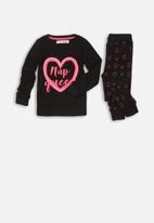 MINOTI - Nap queen long sleep pyjama set - black & pink