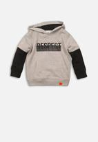 MINOTI - Double layer hooded top  - grey & black