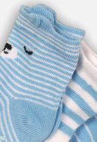 MINOTI - 3 pack striped character ankle socks - blue & white