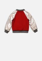 MINOTI - Combo fabric bomber jacket - red