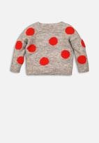 MINOTI - Kids bobble knit jumper - grey & red