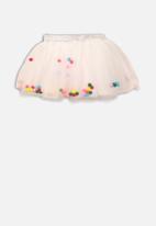MINOTI - Kids pom pom net skirt - white
