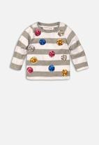 MINOTI - Striped sequin T-shirt top - grey & white