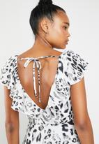 Superbalist - Ruffle neckline maxi dress - grey & black