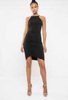 Superbalist - HI neck ruched bodycon dress - black