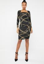 Superbalist - Square neck ruched dress - black & gold