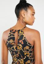 Superbalist - HI neck ruched bodycon dress - print